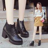 英倫風短靴裸靴裸靴保暖短靴女高跟粗跟系帶馬丁靴皮靴女靴子女鞋
