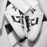NIKE 休閒鞋 AIR FORCE1 07' PRM 白黑 陰陽 太極 銀扣 可替換吊飾 男 (布魯克林) DA8571-100