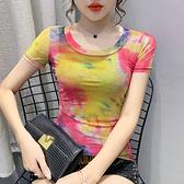 時尚網紗修身上衣圓領短袖t卹打底衫938#紅粉佳人