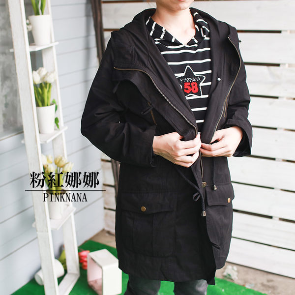 PINKNANA童裝-媽咪成人 時尚風衣外套30255