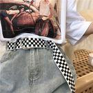 皮帶 正韓風chic經典款格子帆布皮帶學生簡約百搭牛仔褲帶bf雙環扣腰帶女【快速出貨】