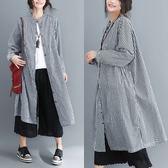 外套【K16】FEELNET中大尺碼女裝2018秋裝韓版文藝中長款寬鬆長袖襯衫外套 均碼