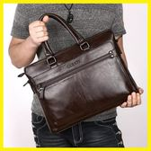 店長推薦 商務男包手提包橫款男士包包單肩包斜挎包電腦包軟牛皮包男公事包