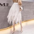 網紗裙蛋糕裙 女2020春裝新款韓版高腰鬆緊腰中長款a字裙ins半身裙 JX1526『東京衣社』