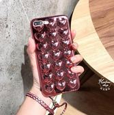 【SZ25 】iPhone7 plus 手機殼立體電鍍愛心掛繩粉色全包軟殼iPhone6s plus 手機殼