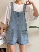 牛仔背帶短褲女夏裝韓版寬鬆顯瘦chic百搭直筒休閒高腰連體褲 亞斯藍