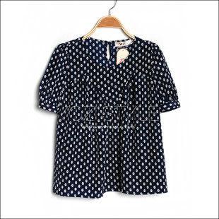 ZC907-010夏裝新品日系森女碎花寬松圓領泡泡短袖T恤
