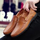 春季真皮豆豆鞋男士休閒皮鞋韓版潮流透氣懶人鞋一腳蹬軟底男鞋子 滿天星