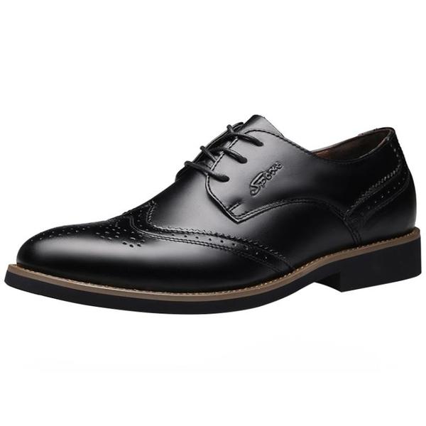 布洛克男鞋小碼伴郎皮鞋男士內增高韓版商務休閒大碼新郎鞋子 喵小姐
