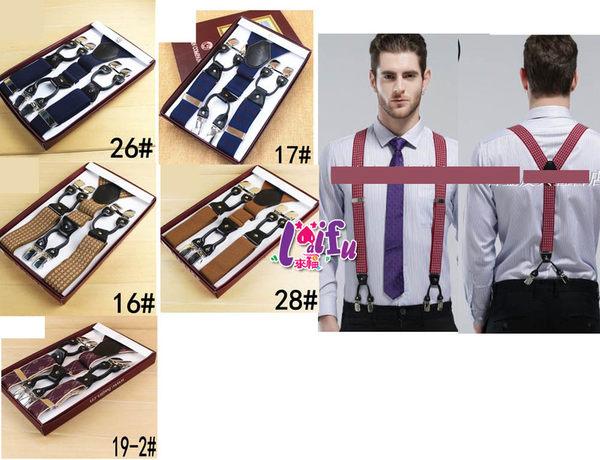★草魚妹★k974吊帶六夾3.5cm皮質提花高質感西裝吊帶褲夾背帶吊帶,售價600元