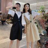 洋裝 韓版 純色系帶收腰背帶裙 假兩件連身裙 花漾小姐【預購】