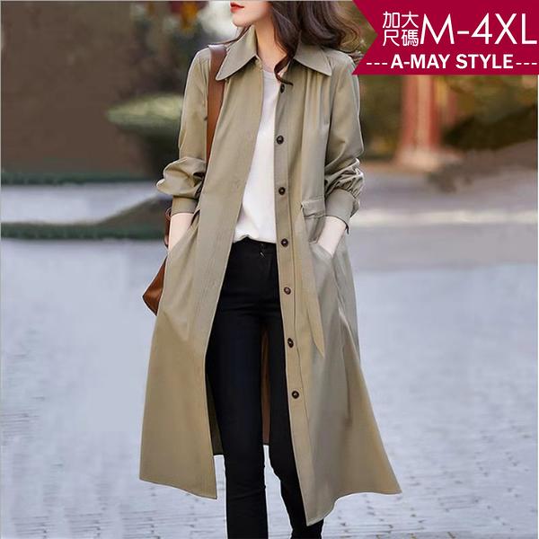 加大碼外套-氣質成熟膝下長版風衣(M-4XL)