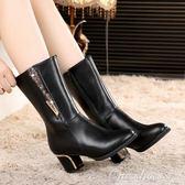 現貨出清中筒靴 冬媽媽鞋棉鞋中老年粗跟女靴大碼中跟女鞋短靴中年軟皮冬鞋 One shoes