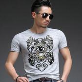 男T恤短袖 韓版休閒 潮流上衣 夏季短袖印花T恤 修身時尚純棉T恤wx3314