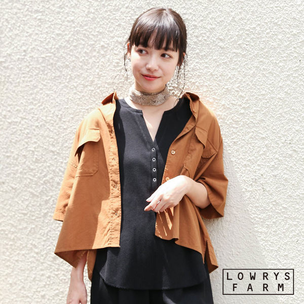 LOWRYS FARM素色棉麻短版短袖襯衫上衣-二色