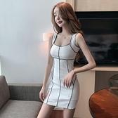 夏季夜場拼色線條顯瘦短裙包臀短裙修身性感吊帶連衣裙女 『小淇嚴選』