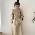 長袖修身洋裝 秋冬裝年新款法式復古修身收腰顯瘦長袖裙子v領氣質連衣裙女 快速出貨