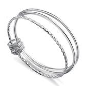S999銀手鐲三環女創意手環復古銀鐲子銀飾送媽媽長輩韓版手飾 居享優品
