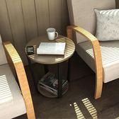 (百貨週年慶)現代簡約沙發邊几迷你小茶几角几 客廳洽談美式鐵藝玻璃小圓桌子xw