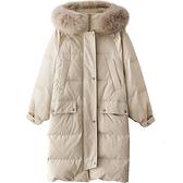 連帽外套-長版舖棉大毛領加厚寬鬆女夾克2色73wd10【巴黎精品】