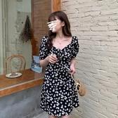 短袖洋裝 小雛菊連衣裙女夏2020年春季新款裙子收腰顯瘦碎花裙一字肩A字裙