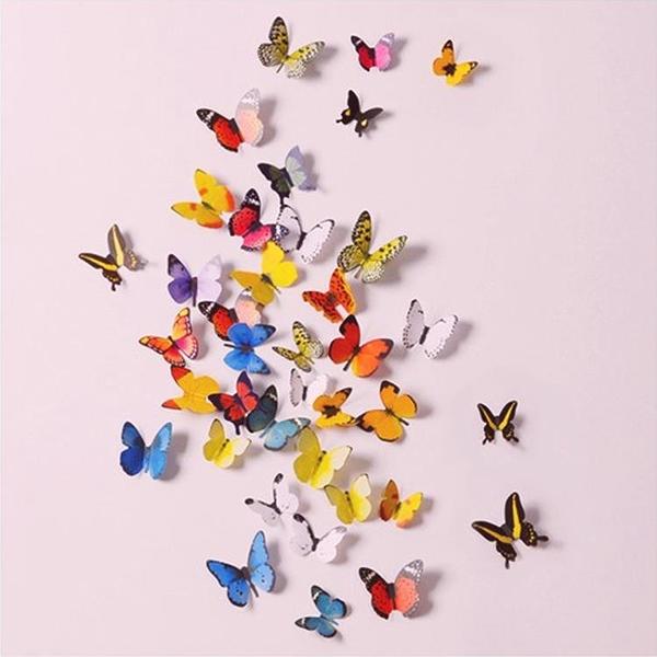 貼畫 仿真3d立體貼紙小蝴蝶墻面房間布置裝飾品墻上創意宿舍墻壁墻貼畫TW【快速出貨八折鉅惠】