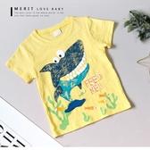 純棉 泡泡鯊魚大牙浮雕英文短T 上衣 竹節棉 插畫 塗鴉 童趣 短袖 男童【哎北比童裝】