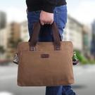 男士手提包橫款商務電腦包側背斜背包休閒男包復古帆布包公文包男 黛尼時尚精品