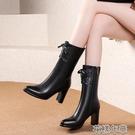 粗跟靴中筒靴女粗跟秋冬季新款百搭尖頭小個子高跟馬丁靴皮靴短筒靴 快速出貨