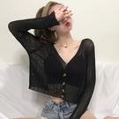 空調衫 夏季空調衫外搭小款鏤空冰絲針織防曬開衫短款薄款罩衫女長袖上衣-Ballet朵朵