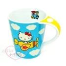 ♥小花花日本精品♥Hello Kitty陶瓷杯馬克杯咖啡杯飲料杯茶杯水杯黃色飛機藍天白雲11200307