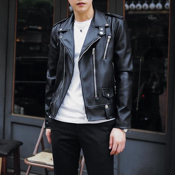 皮衣 韓系騎士側開拉鍊皮革夾克 外套 預購 【TJW1124】GD款