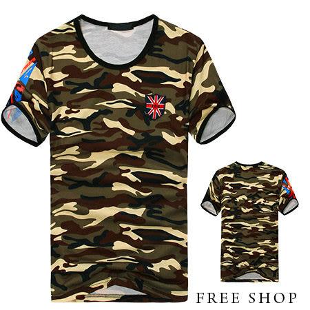 短T《Free Shop》【QTJT529】日韓風格英國國旗盾牌貼布袖口滾邊印花迷彩圓領棉質短袖上衣‧情侶款