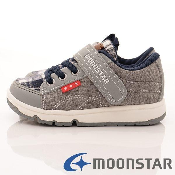 【MOONSTAR】日本Carrot機能童鞋-學院風機能款-KC4357灰(中小童-15cm~19cm)