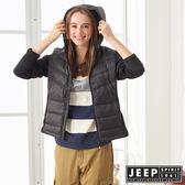 【JEEP】女裝 修身連帽羽絨外套 (黑色)