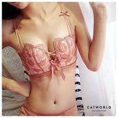 Catworld 等待愛情。無鋼圈蕾絲刺繡雙肩半杯內衣組(粉橘)【18806285】‧70-85AB通杯