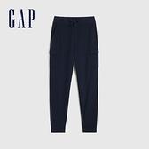 Gap男裝 碳素軟磨系列 法式圈織工裝風運動休閒褲 685031-海軍藍