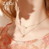 鎖骨鏈 ZENGLIU雙層星月項鏈女鎖骨鏈網紅簡約森系吊墜星星月亮百搭頸鏈 印象部落