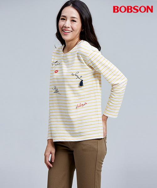 BOBSON 女款刺繡縫珠細條紋上衣(36073-30)