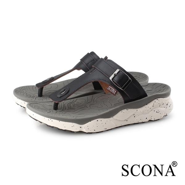 SCONA 蘇格南 真皮 運動休閒舒適夾腳涼鞋-男款 黑色 1751-1
