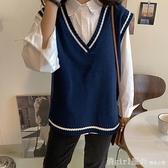 馬甲 春秋新款韓版寬鬆純色無袖坎肩外穿針織顯瘦馬甲毛衣背心女學生 開春特惠
