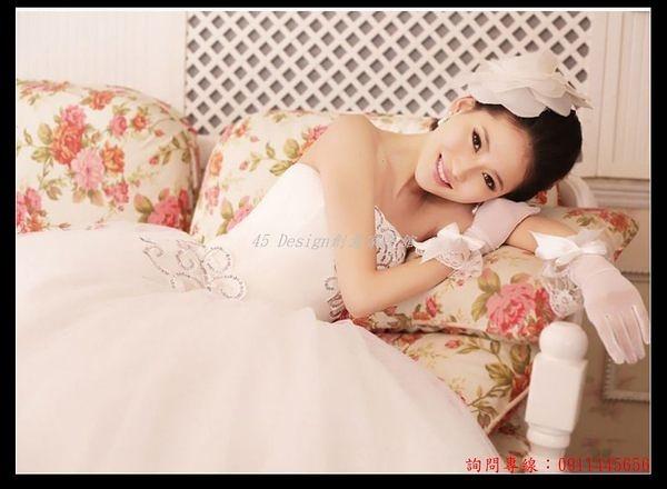 (45 Design) 客製化 預購7天到貨 新款婚紗禮服韓版亮片抹胸齊地新娘結婚公主甜美蓬蓬綁帶夏天