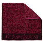 YSL動物紋純棉方巾(深紫紅)932000-3
