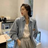 夏季韓版新款復古網紅ins寬鬆中長款長袖帥氣牛仔襯衫外套女 安妮塔小鋪