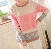 EASON SHOP(GU4020)粉色愛心蝴蝶結圓領長袖針織衫毛衣女上衣服素色秋冬裝寬鬆麻花韓版內搭衫套頭