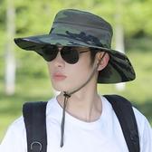 太陽帽 漁夫帽男夏季帽子迷彩大檐遮陽帽戶外登山防曬太陽帽男士騎車旅游 宜品
