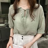 【藍色巴黎】 韓國時尚雪纺V領蕾絲綁帶寬鬆短袖上衣 《3色》【28777】