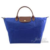 茱麗葉精品【全新現貨】 Longchamp Le Pliage 折疊短揹帶肩提包.寶藍 M #1623