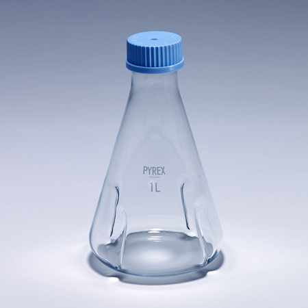 《PYREX》振盪三角瓶 GL45 Flask, Baffled Shake, Screw Cap, GL45