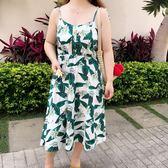胖仙女大碼連身裙女胖mm夏裝度假風簡約清新遮肚子吊帶裙潮 東京衣櫃